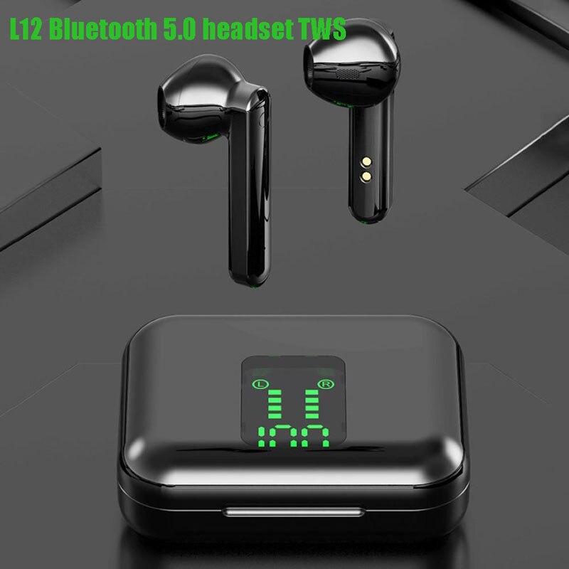 L12 tws 5.0 fone de ouvido tws binaural display digital com toque à prova dwaterproof água mini som movimento 300mah compartimento carregamento
