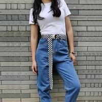 women belt fashion belt woven waistband long d ring buckle plaid canvas casual red black white female waist belt