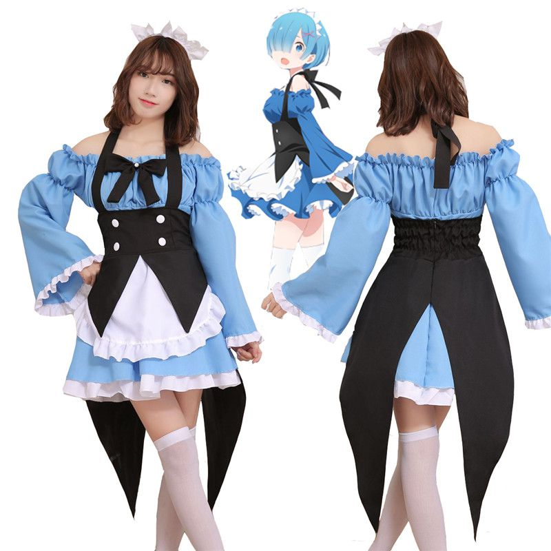 زي تنكري Re:zero Kara Hajimeru Isekai Seikatsu Emilia Anime Cosplay ، ملابس خادم ، Ram/Rem في عالم مختلف