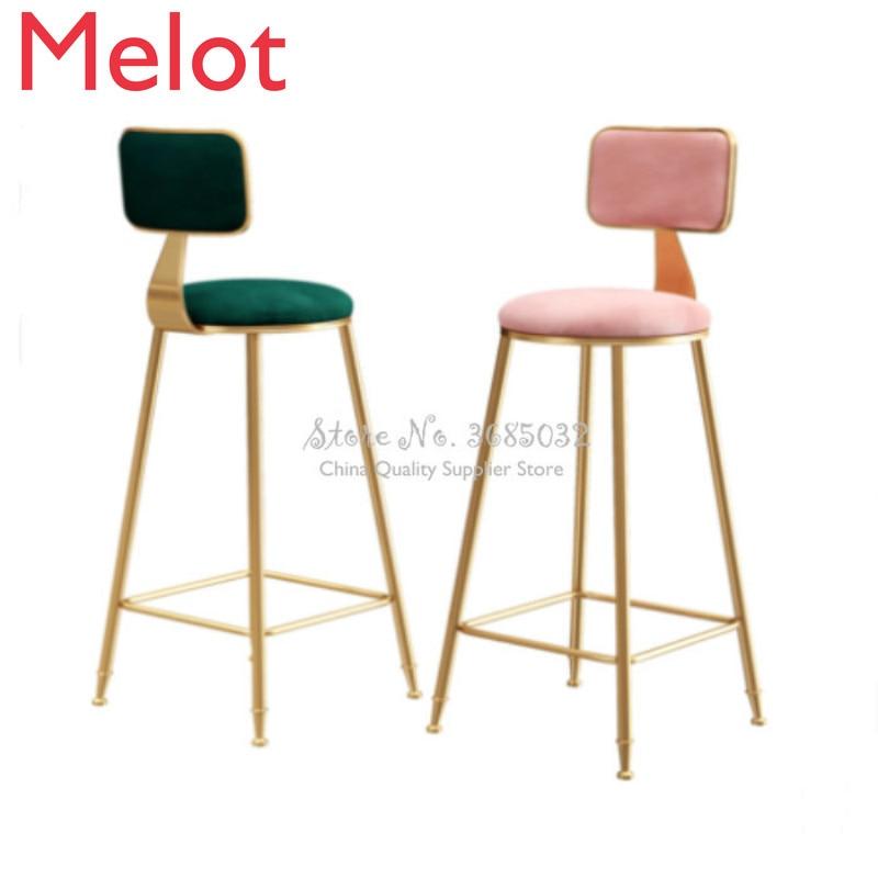 Simple leisure bar chair creative bar chair Nordic bar chair net red chair high stool gold back bar chair high quality 42cm 62cm 72cm nordic bar stool bar chair creative coffee chair gold high stoolgolden modern leisure metal chair