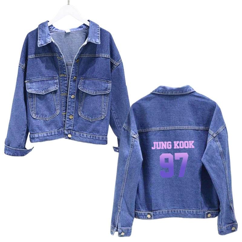 K-pop coreano a prueba de balas niños pequeño medio azul chaqueta joogkook 97, suga93 rm94 v95 jimin95 jin92 Harajuku Chaqueta corta