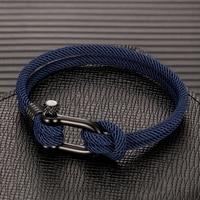MKENDN мужской U-образный браслет для выживания на природе Кемпинг спасательный аварийный веревочный браслет для женщин черный из нержавеющей...