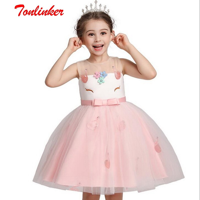 girls rose red unicorn flowers tutu dress with headband hair hoop set for kids birthday theme party dress halloween party dress New Kids Girls Birthday Party Unicorn Costume Mesh Princess Flowers Dress Up For Children Christmas Wedding Party Tutu Dresses