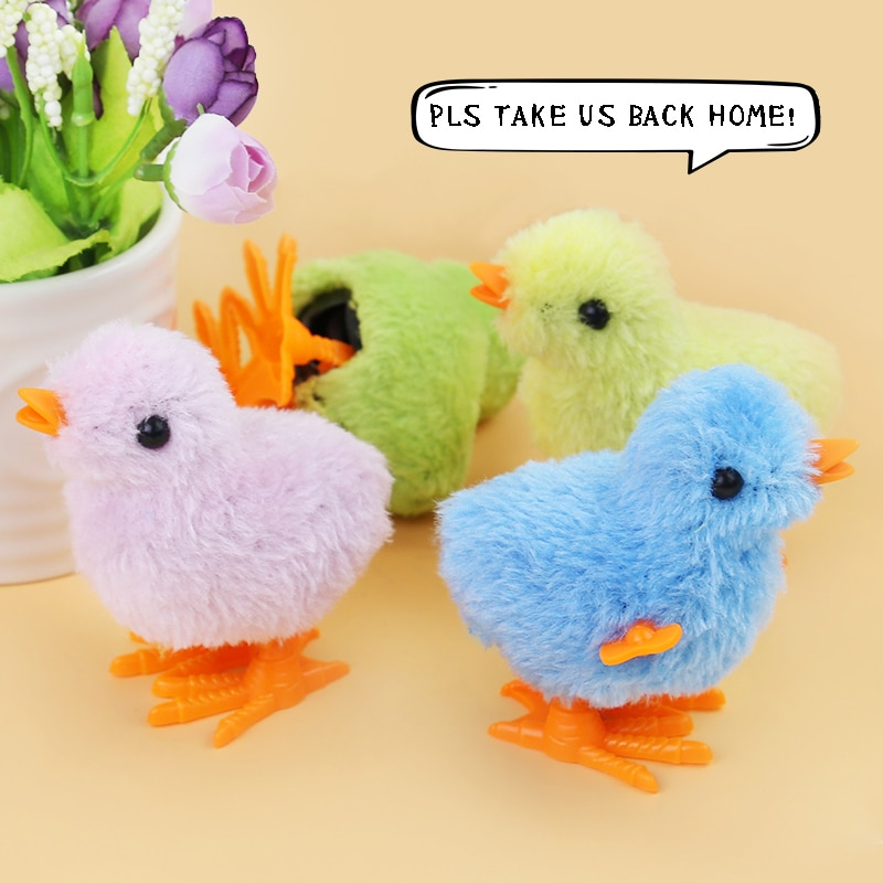 4Pcs 1 Lot New  Children Animal Gift Suit for 3-15 Years Boy And Girl Cute Lovely Lifelike Chick Wind Up Chicken Plush Gift Toy недорого