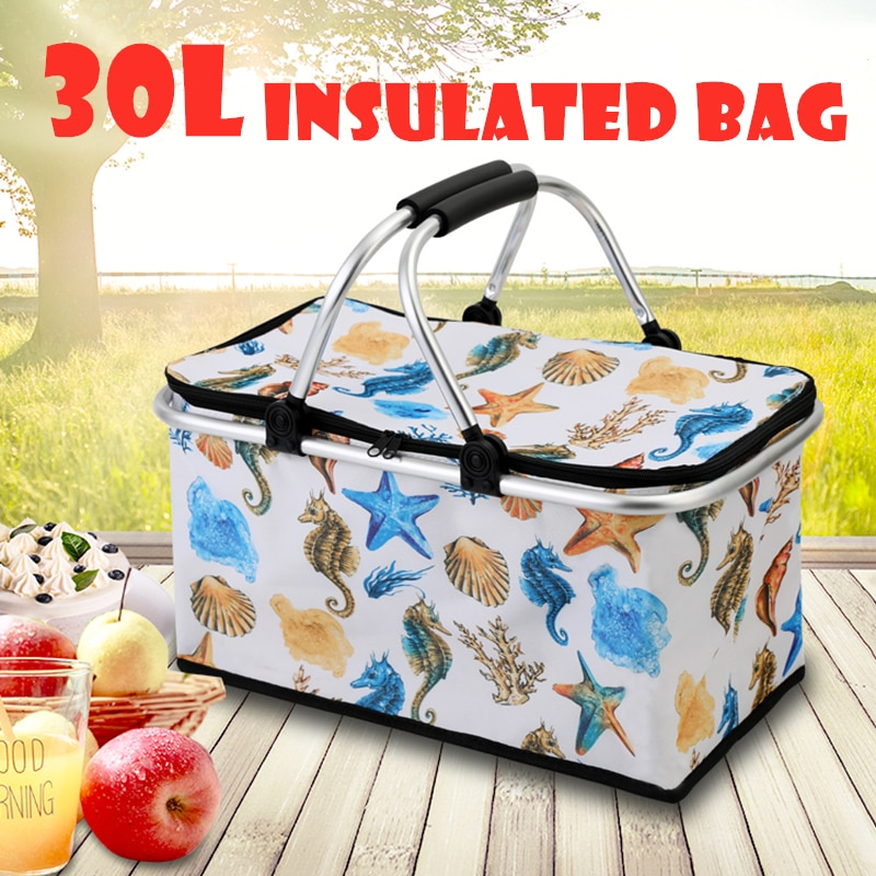 Bolsa de almuerzo plegable de 30l para picnic, cesta de picnic, cesta de hielo para acampar y senderismo, cesta de almacenamiento portátil, caja de pícnic al aire libre