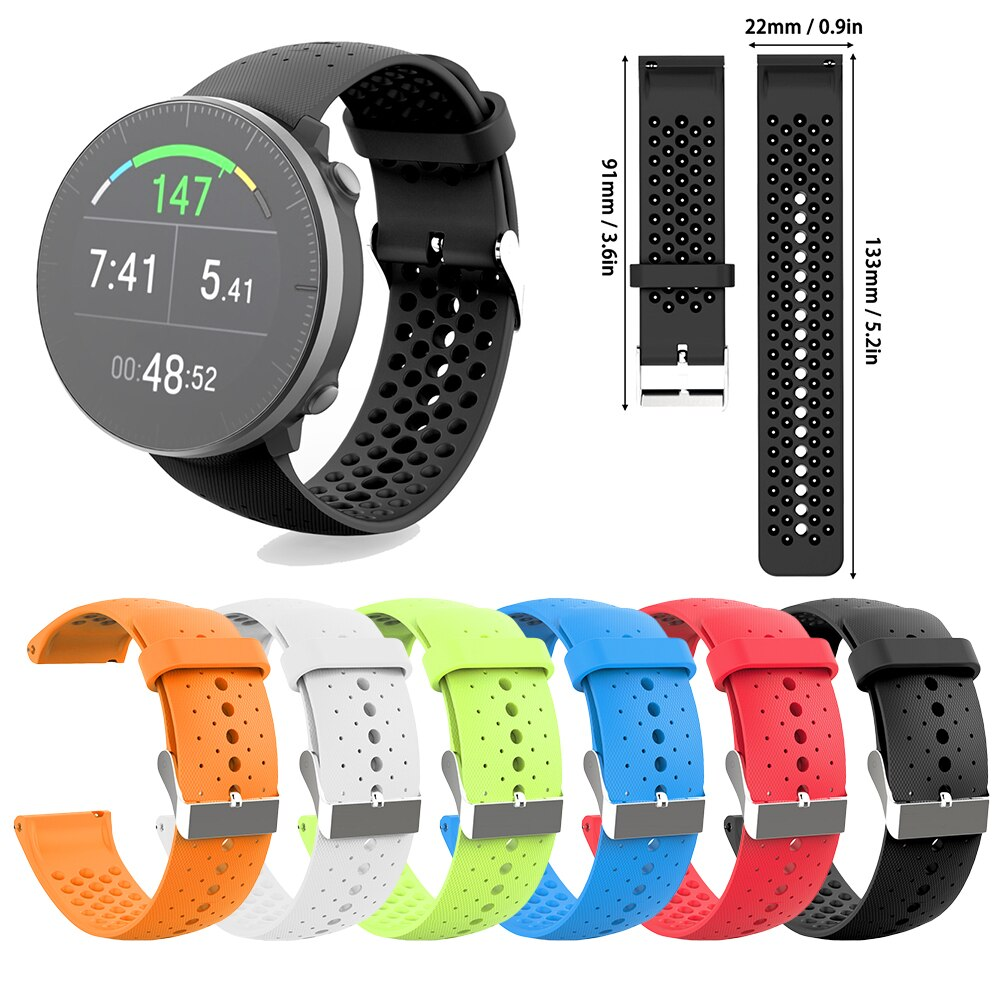 For POLAR Vantage M Watchband Smartwatch Silicone Motion Replacement Wristband Watch Strap Stainless Steel Buckle