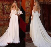 sexy cold off shoulder wedding dress 2021 beach a line chiffon lace appliques short sleeves bridal gowns boho sweep train