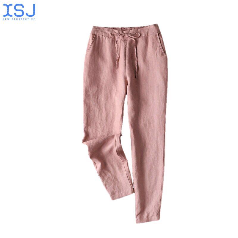 Весенне-летние льняные женские брюки, тонкие девять точек, свободные брюки из хлопка и льна, повседневные льняные брюки
