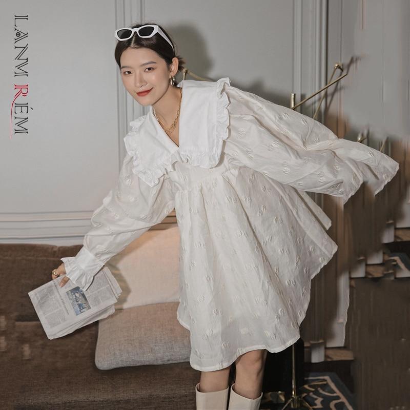 LANMREM 2021 خريف بيتر بان طوق a-line فوق الركبة طول الشارع ارتداء جميل الأميرة نمط كم طويل ابيض فستان 2A534