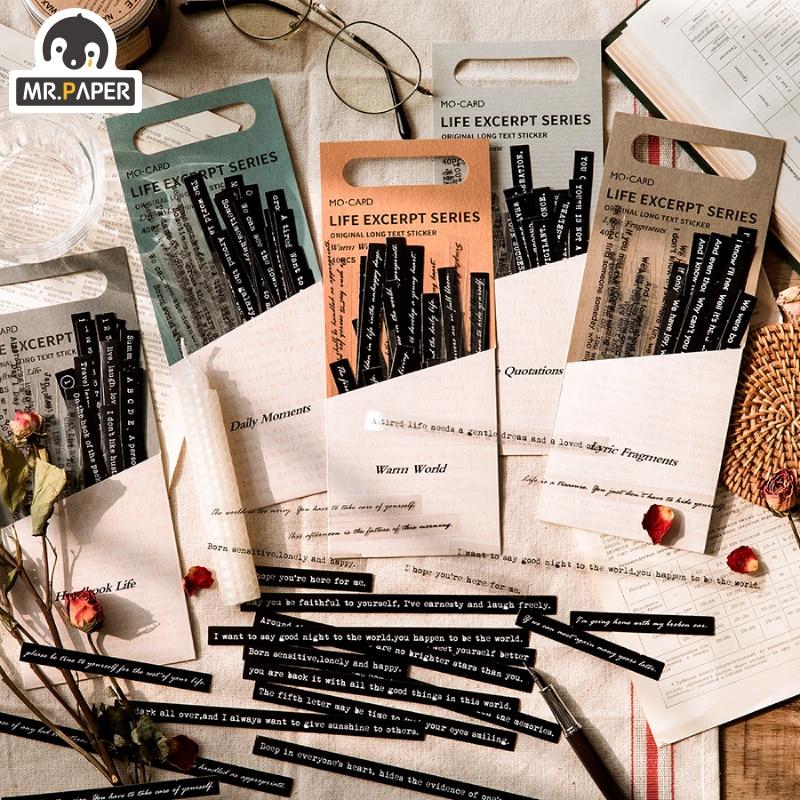 Mr.paper 8 Design Strip Sticker Pack Life Excerpt Series Scrapbook Planner Decoration Stationery Sticker