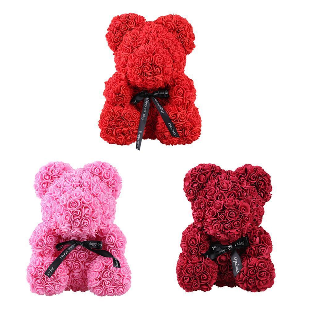 Límite 100 2019, osito de peluche de flor rosa para regalo de San Valentín para novia, gran tamaño 40/25CM