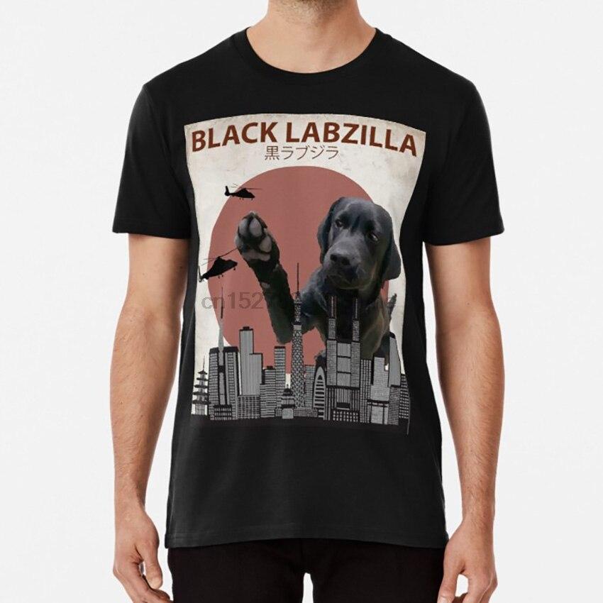 Preto labzilla labrador gigante retriever laboratório cão monstro t camisa labzilla laboratório preto labrador retriever cachorro japão
