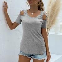 off shoulder t shirt woman summer short sleeve t shirt woman korean style plus size shirt 2021 fashion new o neck women tees