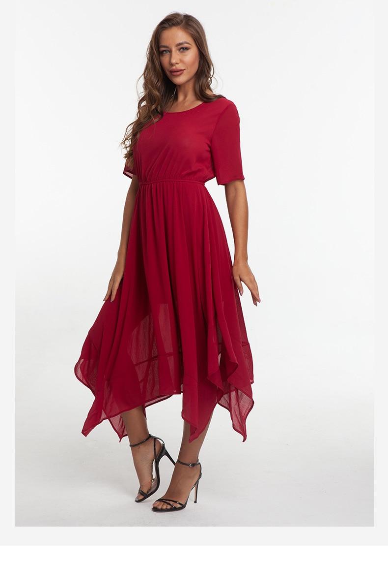 JS1361J-2019 Europe and America autumn new black red long skirt spinning irregular dress