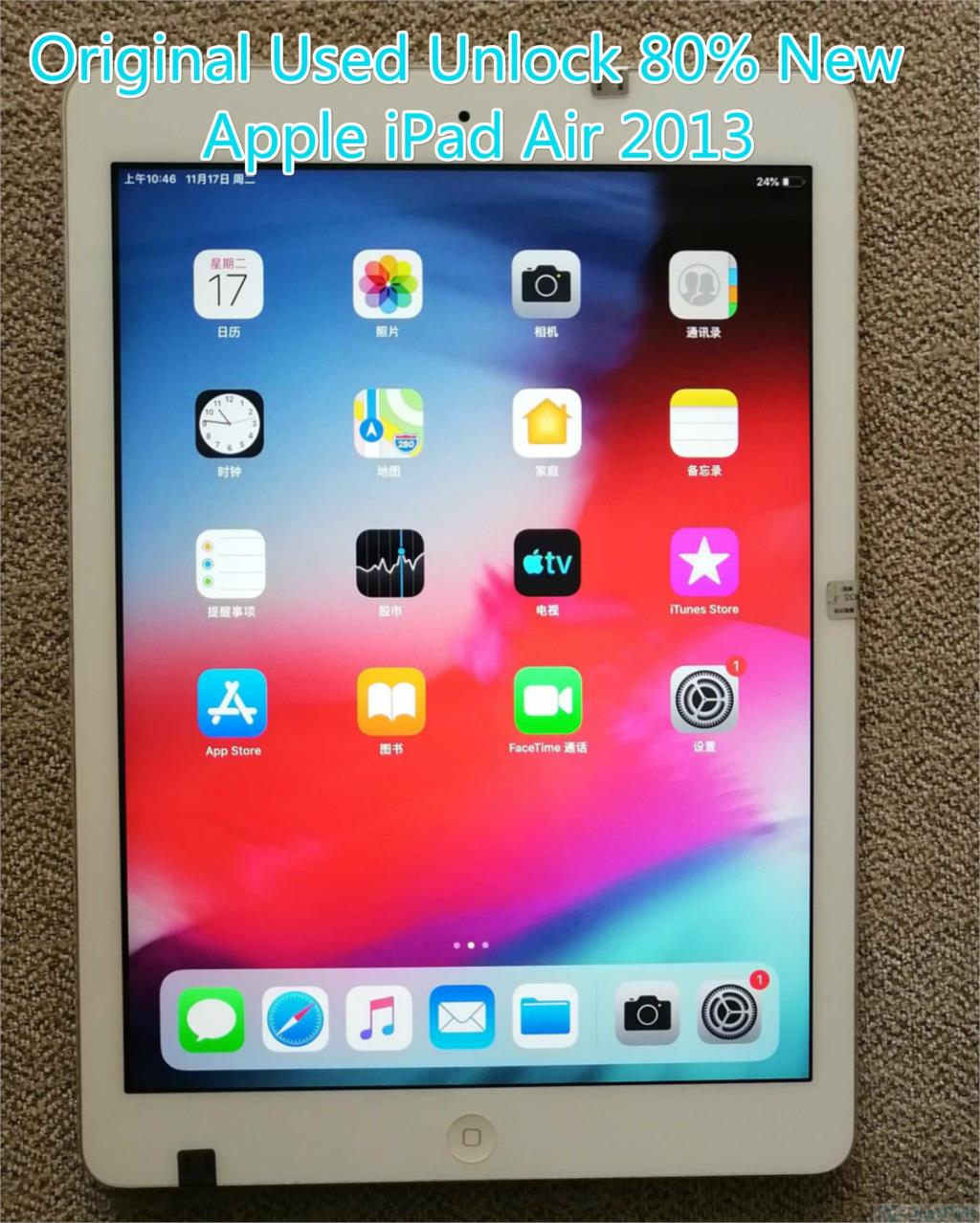 Review Original 80% New Used Apple IPad air 2013  Wi-Fi 9.7″ Unlock Space Gray, Silver Color