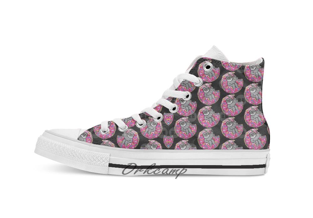 Sloth donut música personalizado casual alta superior rendas sapatos de lona tênis transporte da gota