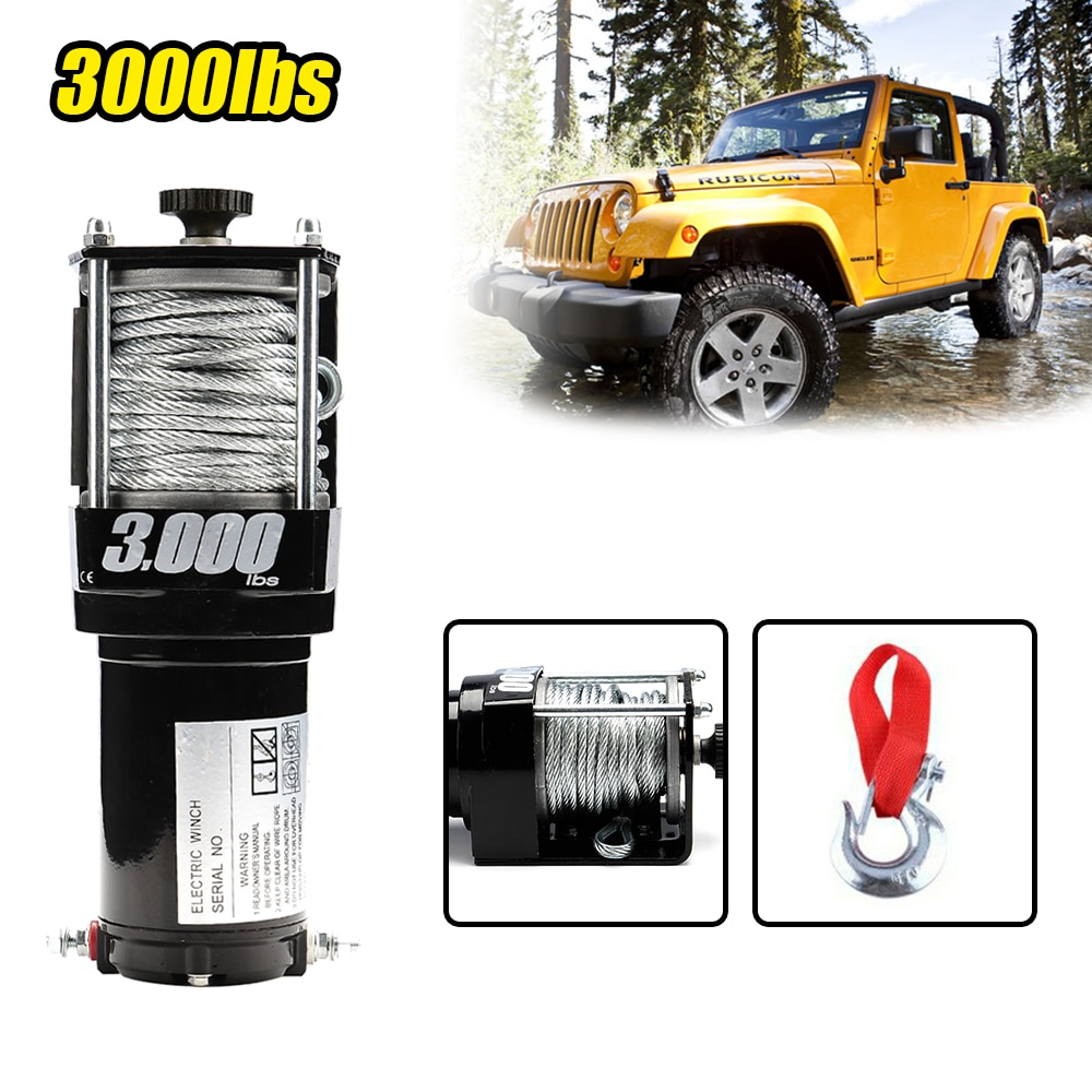 Electric Winch 3000lbs With Power Terminal Fairlead Bold Wire Rope