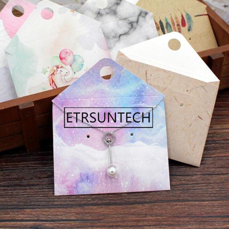 500 Uds bolsa de embalaje de joyería a la moda collar pendiente pequeño papel Kraft sobres bolsa tarjetas