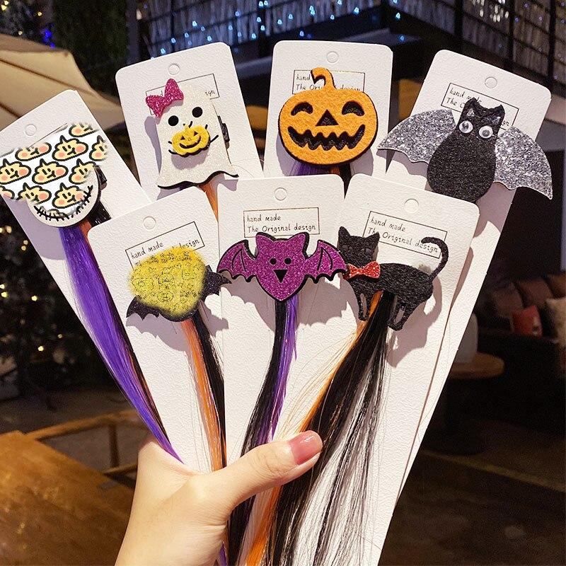 1pc Girls Colorful Wigs Ponytail Hair Ornament Headbands Hairpin Bands Duckbill Clip Bat Pumpkin Kids Hair Accessories Head Band