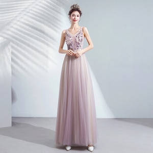Evening Dress V-Neck Sleeveless Floor-Length Tulle Evening Dresses Long Formal Gowns Flowers Simple Pattern Evening Gowns TS014