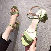 Women Sandals 2021 Summer High Heels Shoes Woman Pumps Patent Leather Ankle Straps Ladies Peep Toe S