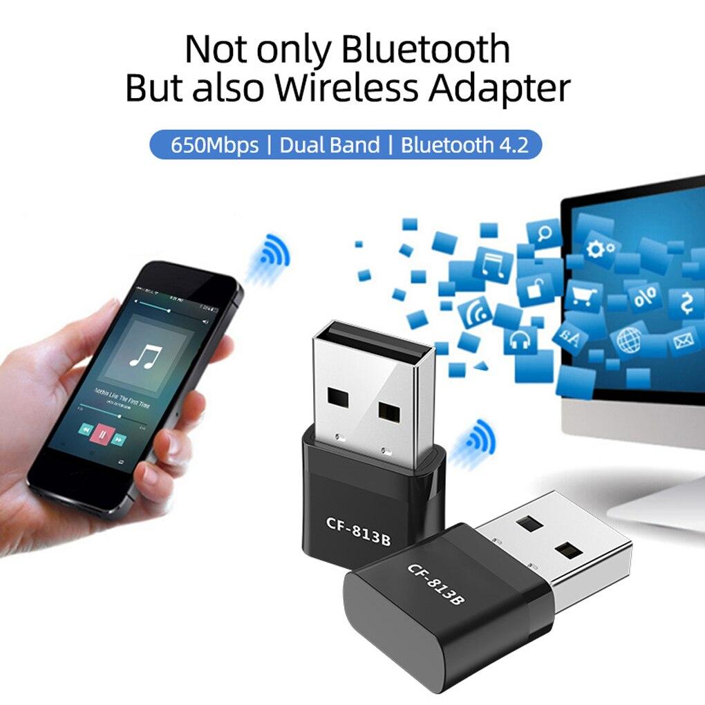 Новый 650 Мбит/с мини Беспроводной Вай-Фай адаптер Bluetooth4.2 USB dual band сетевой карты RTL8821CU 2,4 + 5,8G черный Вай-Фай адаптер переменного тока для ПК