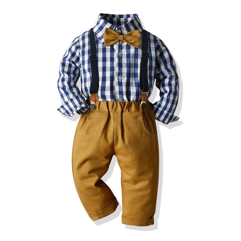 Autumn and Winter Boys long-sleeved Plaid Shirt CRAVAT suspenders children gentleman suit School clothes for pupils