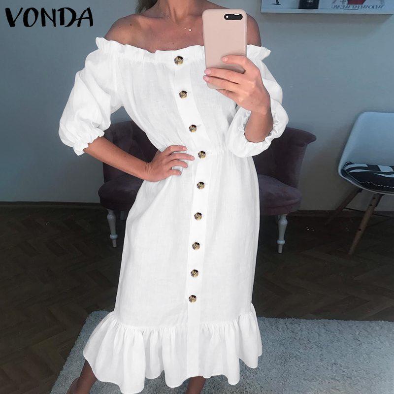 VONDA-vestido playero de talla grande para mujer, vestido largo bohemio con manga de mariposa y hombros descubiertos y manga corta de verano 2020