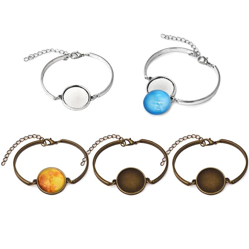 10psc/lot Metal Cabochon Bracelet Bangles Base Setting fit 20mm Round Blanks Cameo Bezel Trays DIY Bracelets Jewelry making