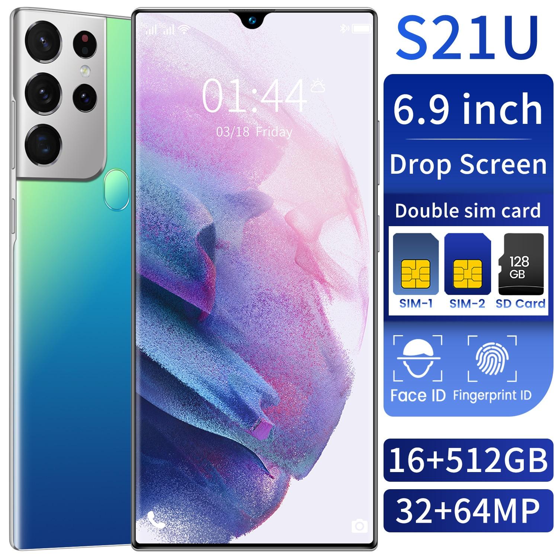 5G Smartphone Galax S21U Global Version Camera MTK6889+ Deca Core 64 MP 16G 512G Memery 6.7 Inch HD