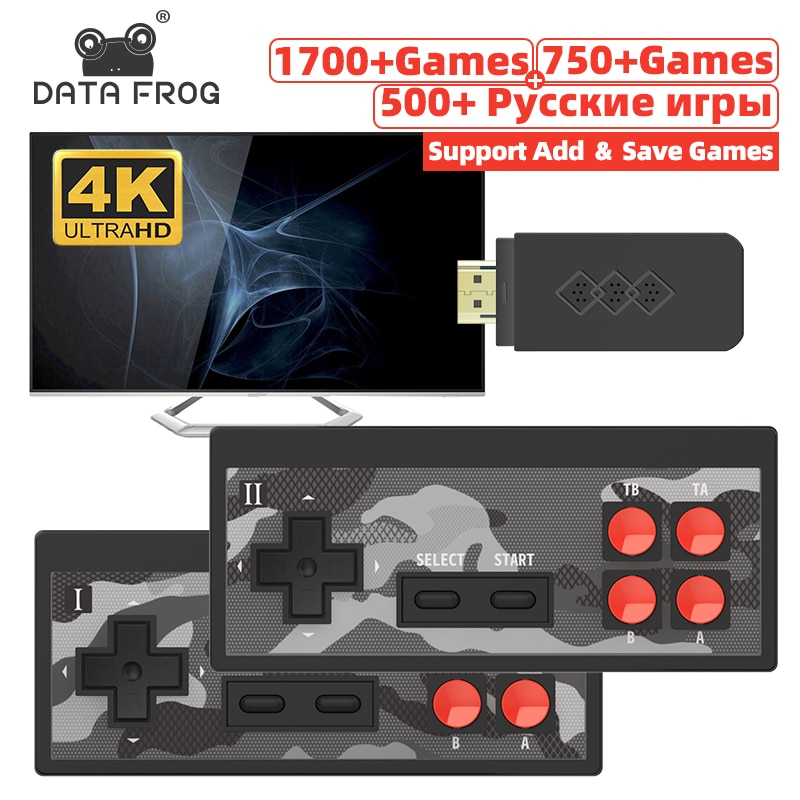 Data Frog Mini 4K Video Game Console Dual Players and Retro Build in 1700+ NES Games Wireless Contro