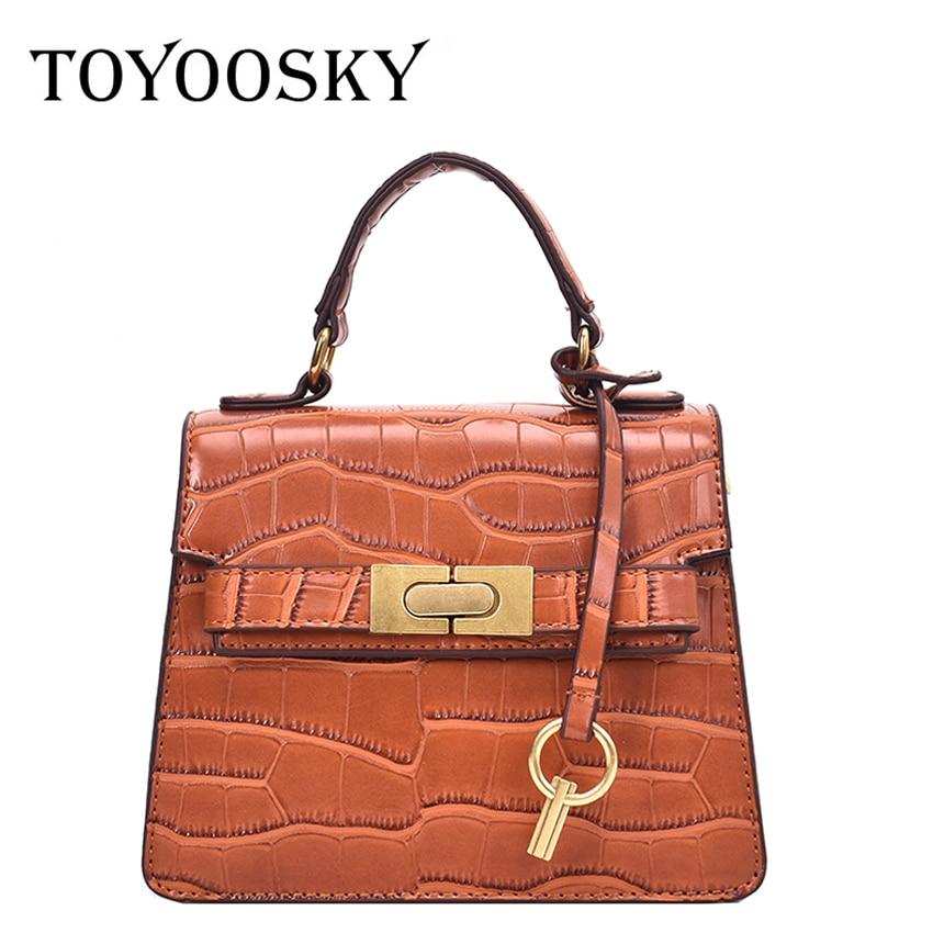 TOYOOSKY Luxury Crocodile Skin Printing Tote Bag Handbags Women Designer Vintage Small Crossbody Bags Brand Messenger Bags sac
