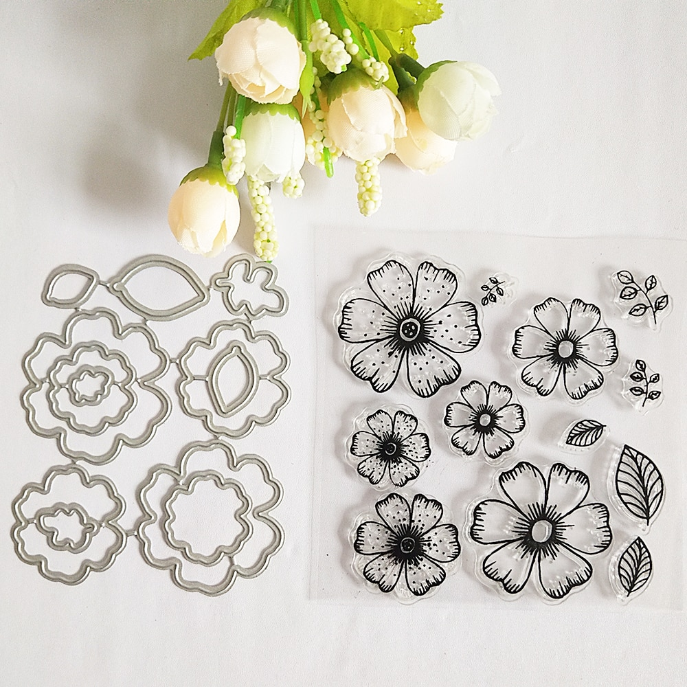 AZSG Beautiful Flowers Leaves Petal Clear Stamps Cutting Dies Set For DIY Scrapbooking Photo Album Card Making Silicon Craft
