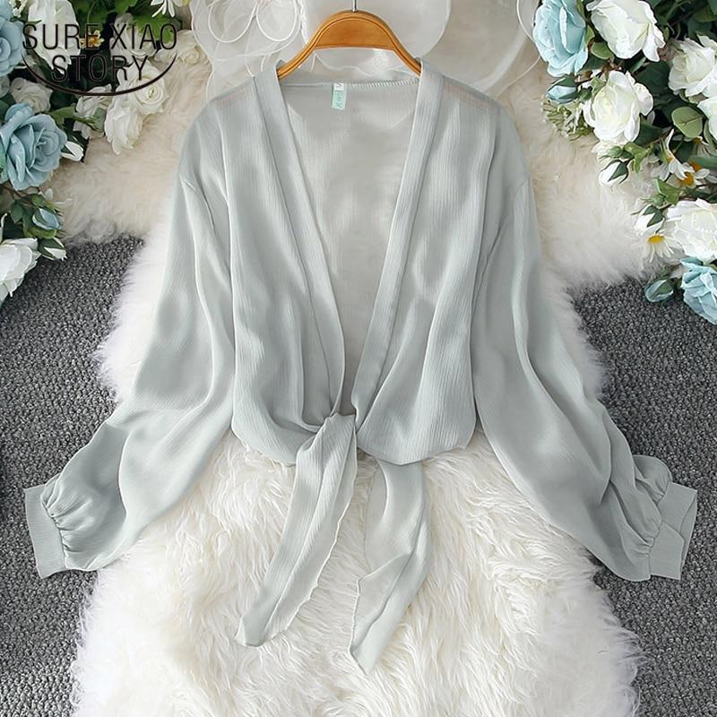 2020 Summer Casual Loose Chiffon Shirt Women Tops Sun Protection Clothing Women Korean Cardigan Long Sleeve Blouse Women 9495 50