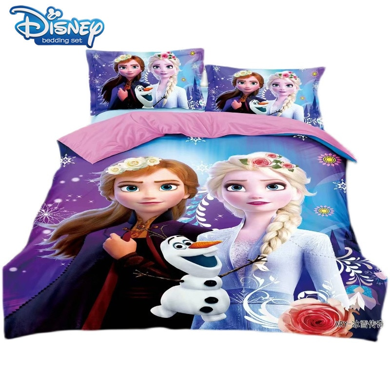 واحد حجم المجمدة الأميرة إلسا الفراش مجموعة للفتيات السرير ديكور التوأم حاف يغطي ورقة مسطحة 4 قطعة الكرتون الوردي عيد ميلاد هدايا
