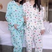 cute girls pajamas set korean 2021 spring summer new long sleeve pants sleepwear women print loose nightwear homewear suit