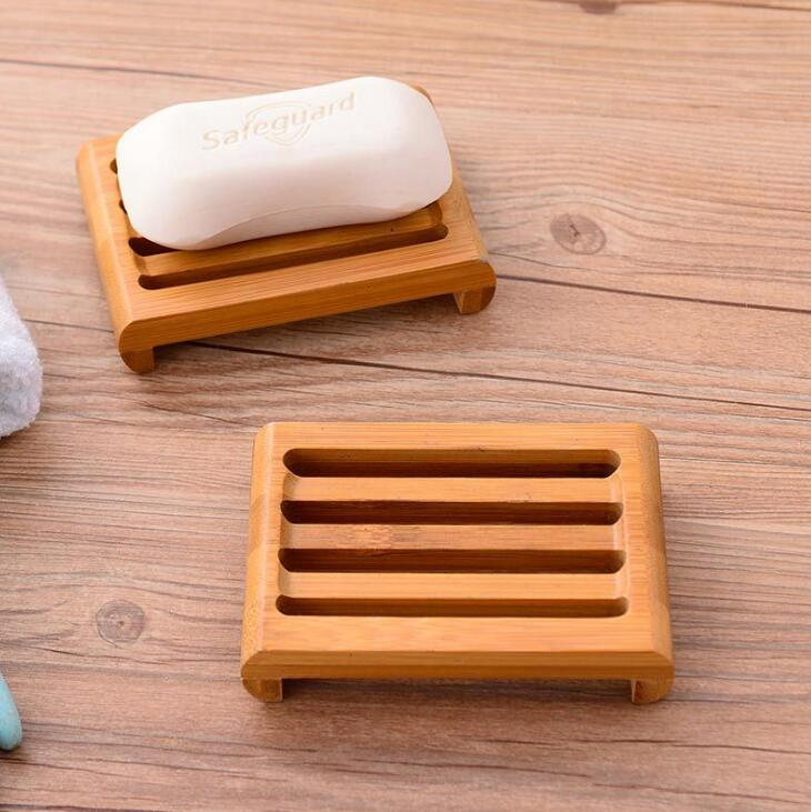 Natural de bambu sabão pratos bandeja titular do banheiro sabão rack prato caixa recipiente lx1191