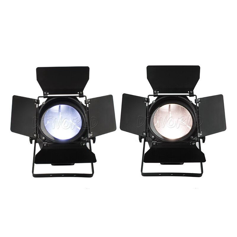 Djworld 200Вт COB Electric Zoom Light Cool% 2BWarm White With Barn Doors DMX512 COB Light for Stage Church Theater Disco DJ Light