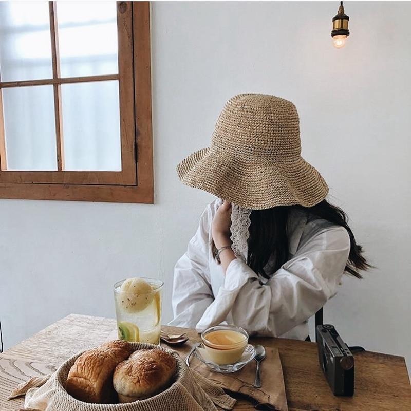 Weiß spitze Japanischen häkeln lafite gras fischer große traufe MS sonne stroh hut sommer hut ist verhindert aalen sich in falten