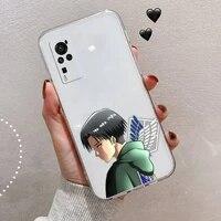 japan anime attack on titan phone case transparent for vivo x 50 60 30 21 27 20 7 9 i s pro plus