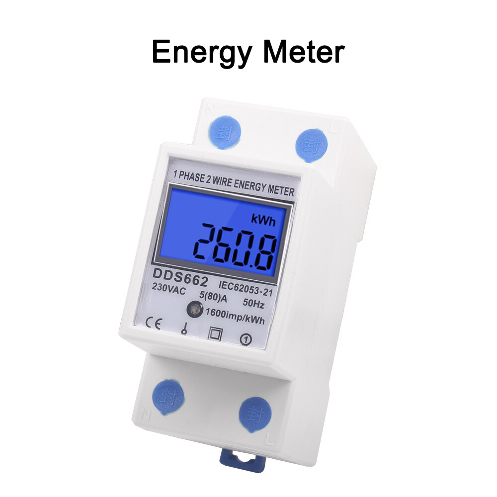 Fase monofásica retroiluminado dois fios lcd display digital wattmeter consumo de energia medidor kwh ac 230 v 50 hz trilho din