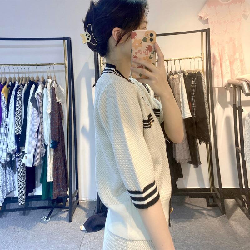 The Latest Hot-selling Women Clothing In 2021 Casual Fashion Cardigan Short Skirt Elegant Lady Suit V-neck Beige Khaki Girl Tops enlarge