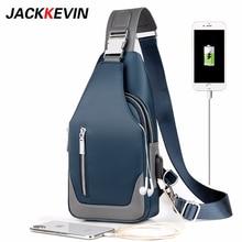 Hommes sac de messager épaule Oxford tissu poitrine sacs bandoulière décontracté sacs de messager homme USB charge multifonction sac à main