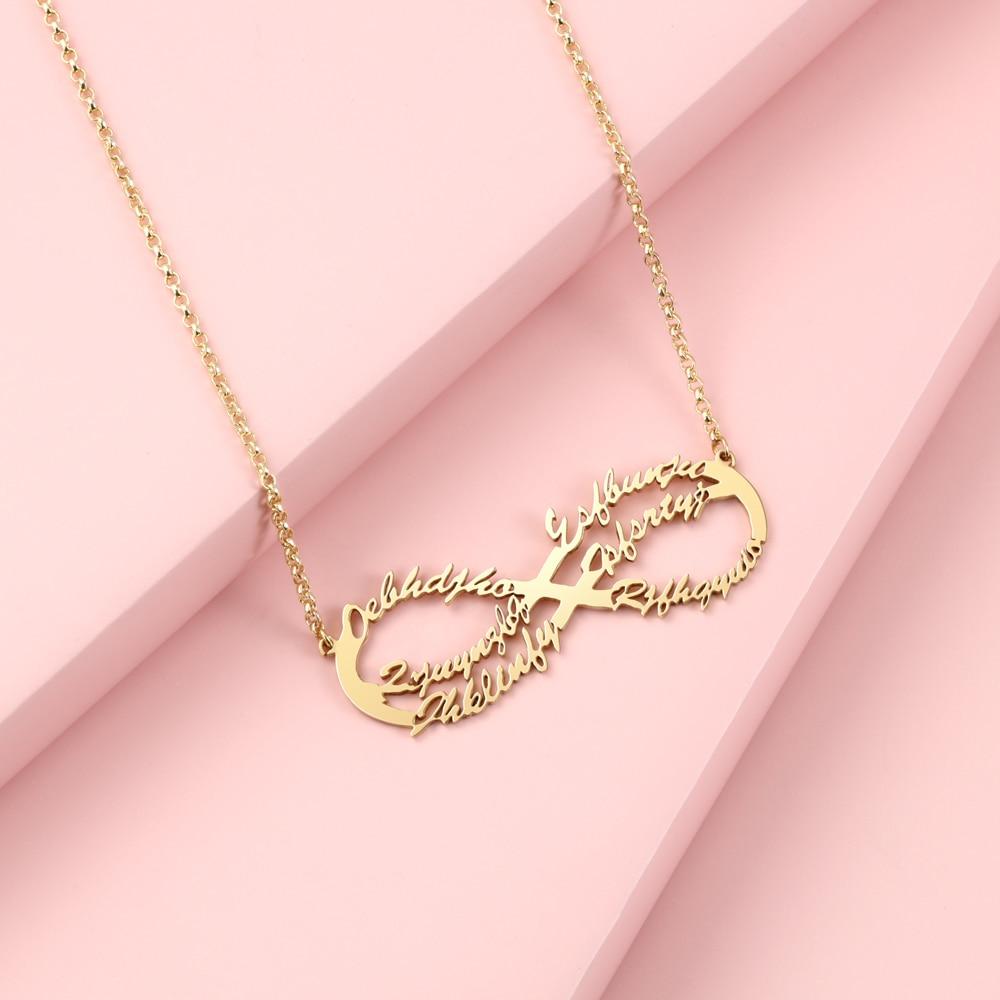 Collar personalizado con 6 nombres, colgante de collar infinito hecho a mano, placa con nombre, joyería, regalo familiar, regalo especial para mujeres