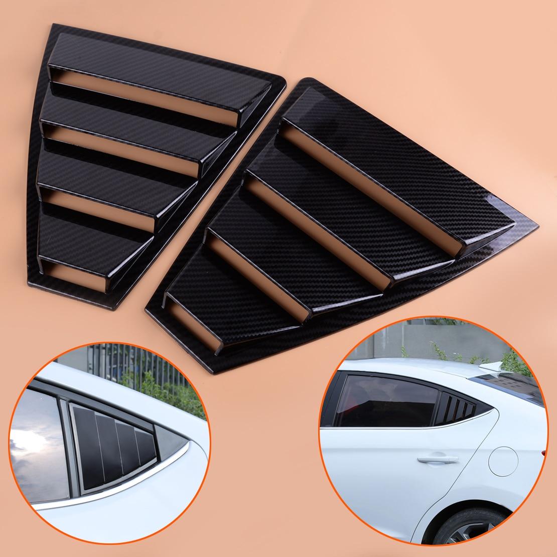 beler 2 PCS ABS Carbon Fiber Black Style Rear Window Quarter Panel Side Vent Trim Cover Fit for Hyundai Elantra 2017 2018 2019