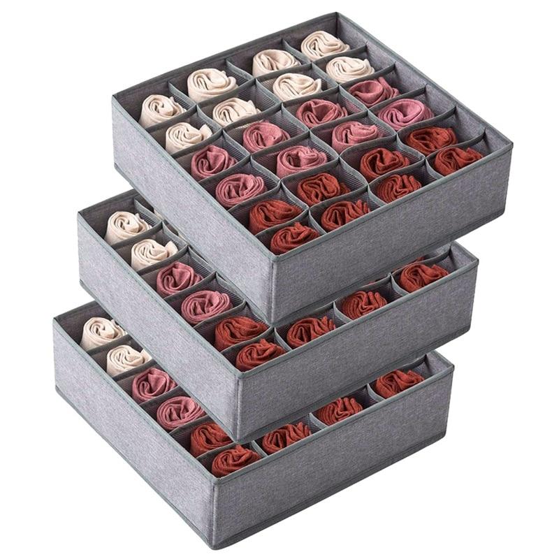 Paquete de 3 calcetines de armario organizador cajón divisor, 24 celdas armario plegable armario organizador ropa interior cajas de almacenamiento