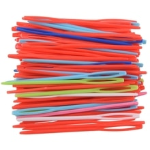 100 pièces 7CM/2 3/4 pouces en plastique à coudre à la main fil à repriser tapisserie aiguilles en plastique laçage aiguilles Notions artisanat (couleur aléatoire)