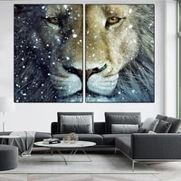 modern nordic animals print canvas painting snow lion poster movie pictures wall art prints decoration pictures for living room