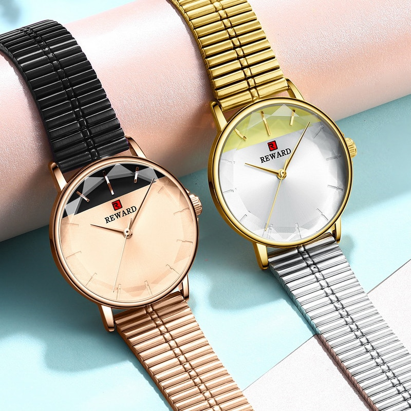 REWARD Fashion Women Watches Color Matching Dial Quartz Watch Waterproof Ladies Stainless Steel Casual Wristwatch Montre Femme enlarge