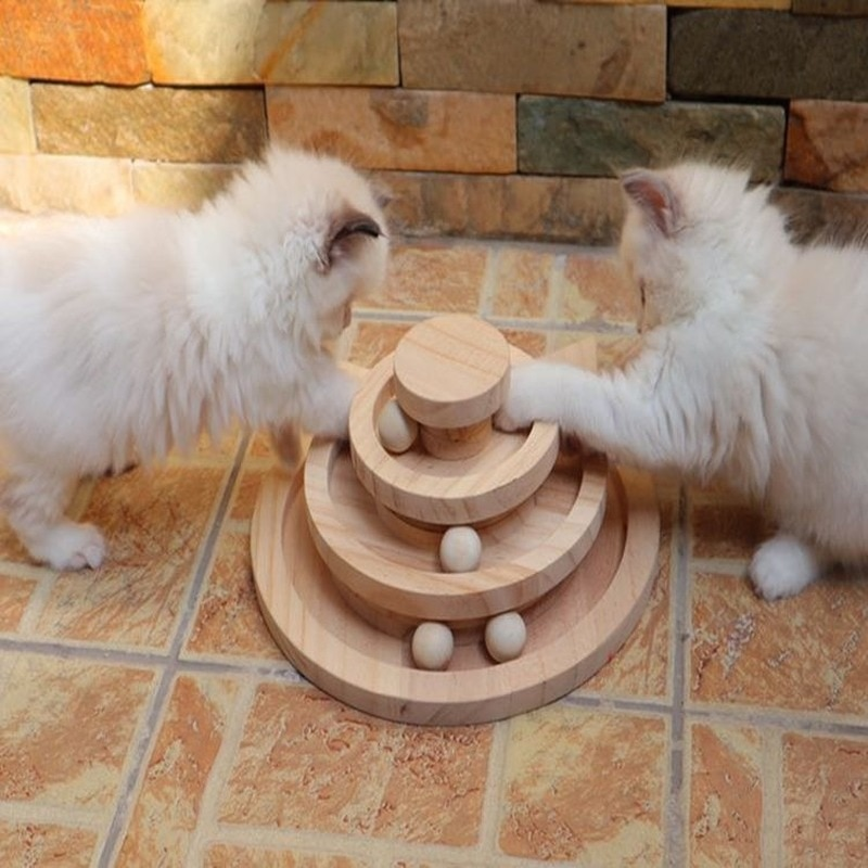 26X26X11CM, tres niveles de pistas de torre de madera, juguetes interactivos para gatos, juguetes de pelota para gatos, disco de diversión para la inteligencia, Gato loco MJ81513